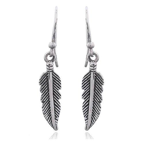 Zilveren oorbellen Feather