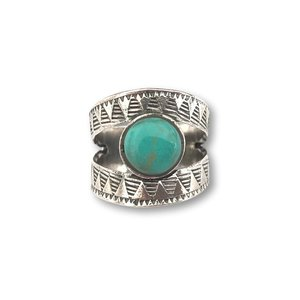 Zilveren boho ring Blue Sky