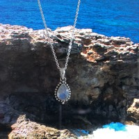 Zilveren ketting met Maansteen hanger