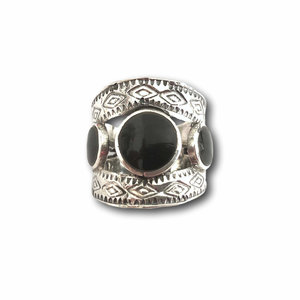 Zilveren boho ring Black Bobo
