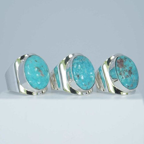Zilveren ring Turquoise Anello Blu