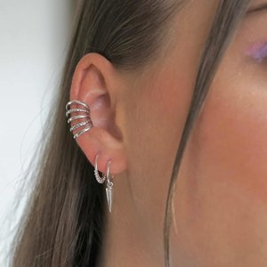 Zilveren Ear cuff Five