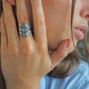 Zilveren ring Maansteen Indy