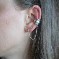 Zilveren ear cuff Chain Bali style