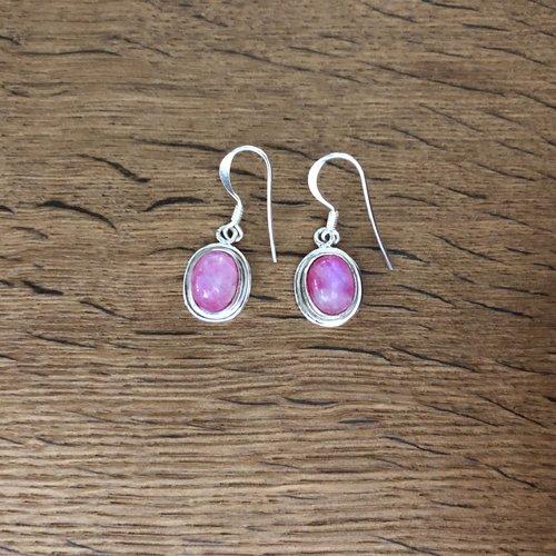 Zilveren oorbellen Pink Moonstone