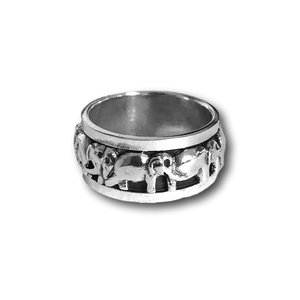 Zilveren spinning ring Olifant