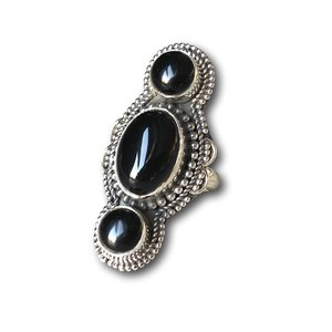 Zilveren boho ring Black Onyx