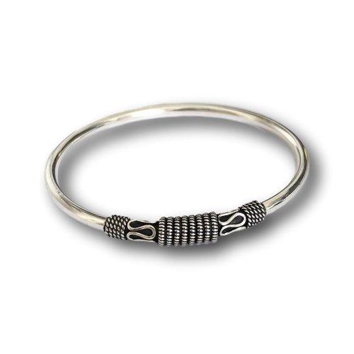 Zilveren Bali style Bangle armband