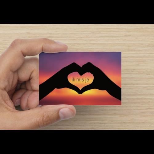 Gratis kaartje -ik mis je / ik hou van jou-