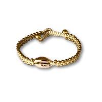 Armbandje schelpje goudkleur