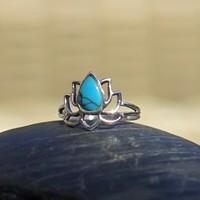 Zilveren ring Lotus skyblue