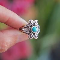 Zilveren Boho ring Indira Turquoise
