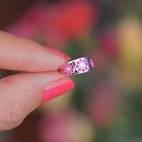 Zilveren teenring pink Flowers
