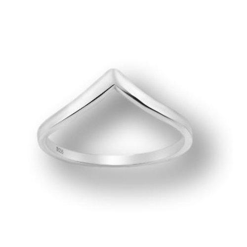 Zilveren Chevron V ring