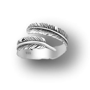 Zilveren Feather ring Wayan