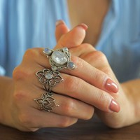 Zilveren ring Lotus Flower