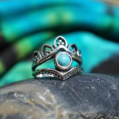 Zilveren ring Turquoise Chiara