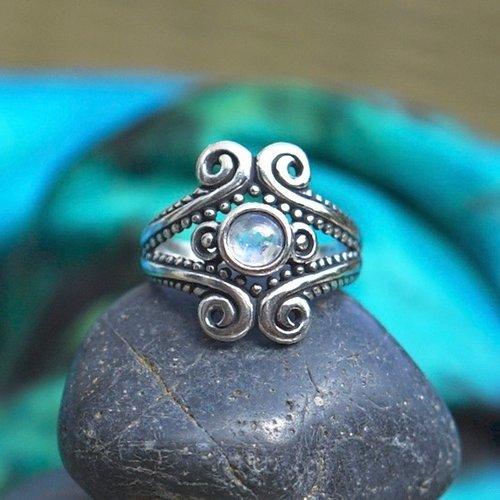 Zilveren ring Indira moonstone