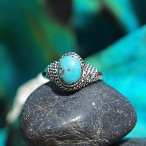 Zilveren ring Turquoise Classic
