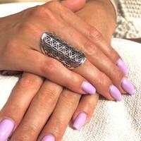 Zilveren Boho ring Flower of life
