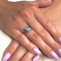 Zilveren Feather ring Wayan