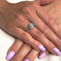Zilveren ring maansteen Layla