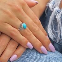 Zilveren ring Turquoise Jaira