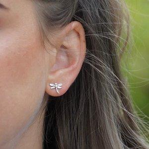 Zilveren oorknopjes Libelle