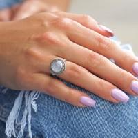 Zilveren ring Maansteen Alba