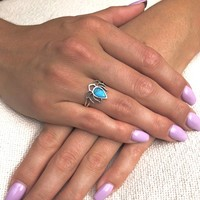 Zilveren ring Lotus skyblue