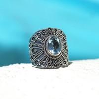 Zilveren Boho ring Blue Topaz