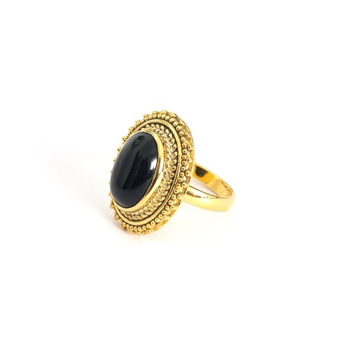 Goldplated ring Black Onyx