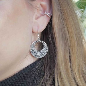 Zilveren bohemian oorbellen