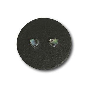 Zilveren oorknopjes Abalone hart