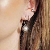Zilveren oorbellen Parel