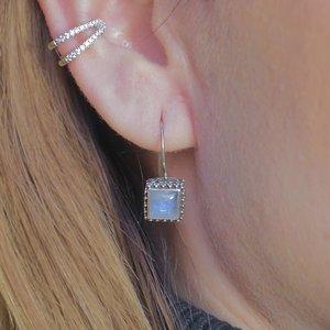 Zilveren oorbellen Bali cube