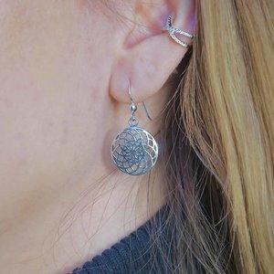 Zilveren oorbellen Flower of Life