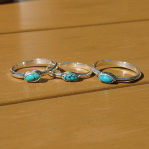 Zilveren ring Turquoise Fresia