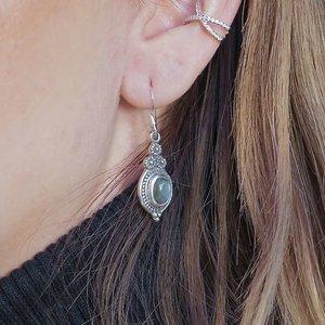 Zilveren oorhangers Labradoriet