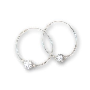 Zilveren oorbellen Crystal hoop