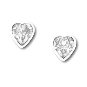 Zilveren oorknopjes Swarovski hart