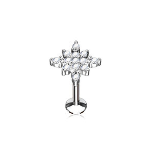 Piercing shiny silver star