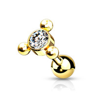 Piercing zirkonia small triangle gold dot