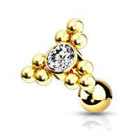 Piercing zirkonia big triangle gold dot