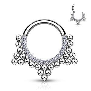 Piercing sparkling dot hoop silvy