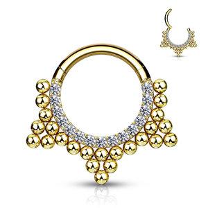 Piercing sparkling dot hoop goldy