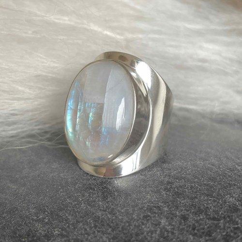Zilveren ring Maansteen Anello