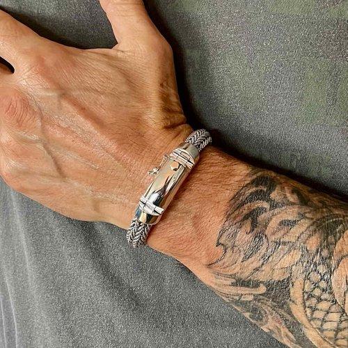 Brede zilveren heren armband