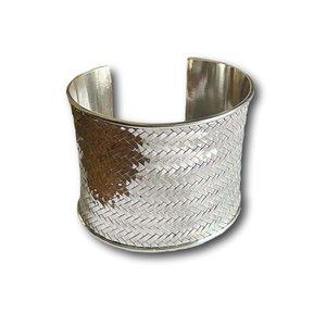 Zilveren braided klem armband Vera