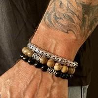 Zilveren Bali style heren armband